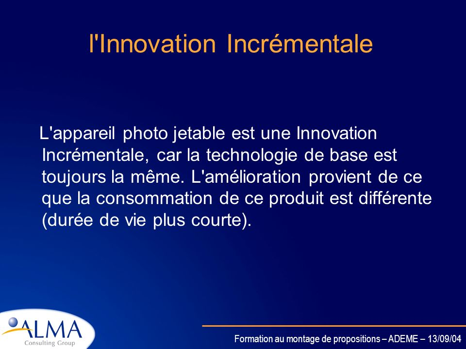 l Innovation Incrémentale