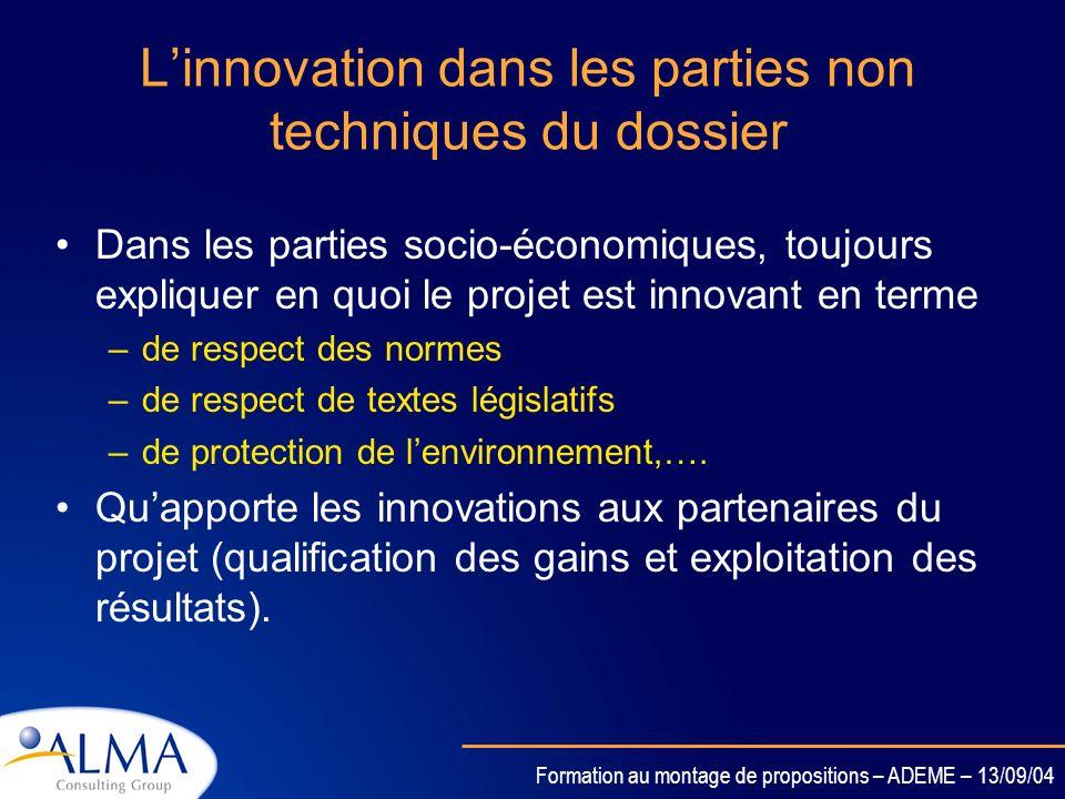 L'innovation dans les parties non techniques du dossier