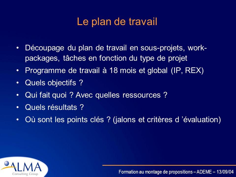 Le plan de travailDécoupage du plan de travail en sous-projets, work-packages, tâches en fonction du type de projet.