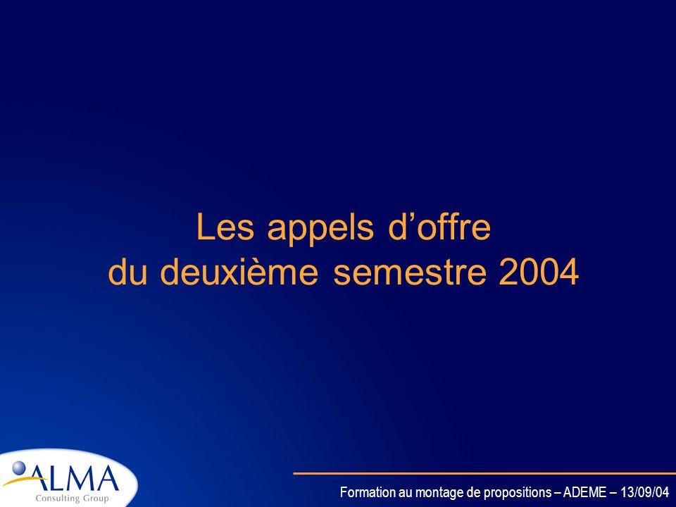 Les appels d'offre du deuxième semestre 2004