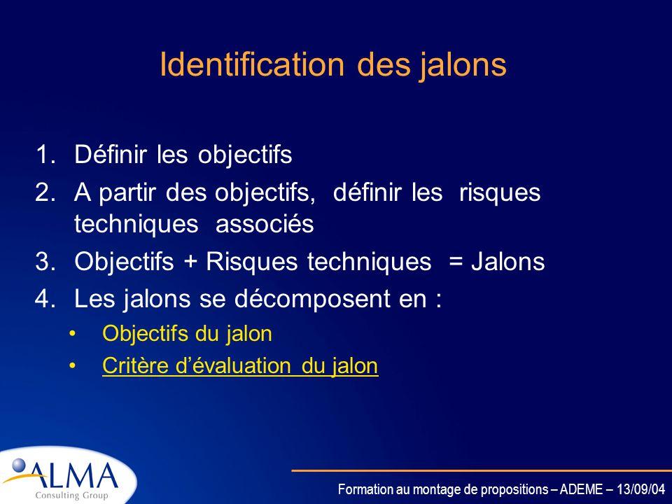 Identification des jalons