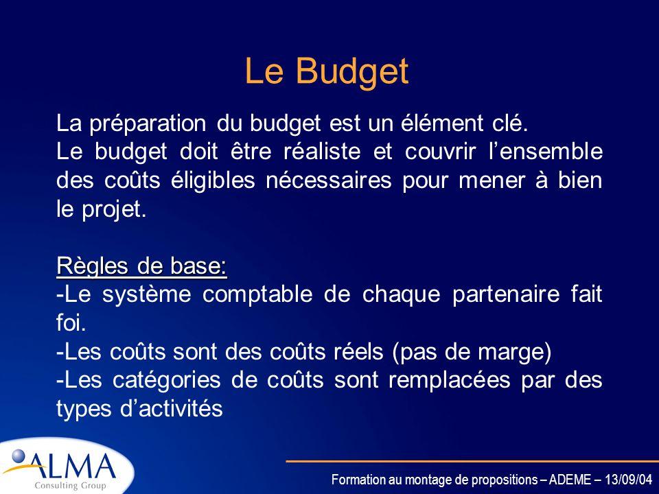 Le Budget La préparation du budget est un élément clé.