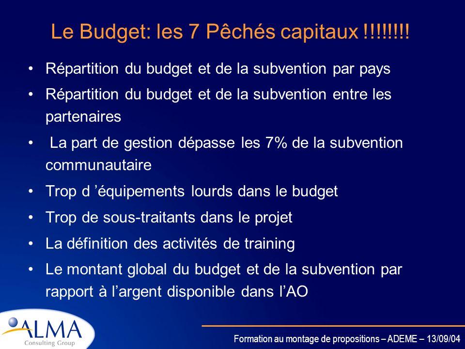 Le Budget: les 7 Pêchés capitaux !!!!!!!!