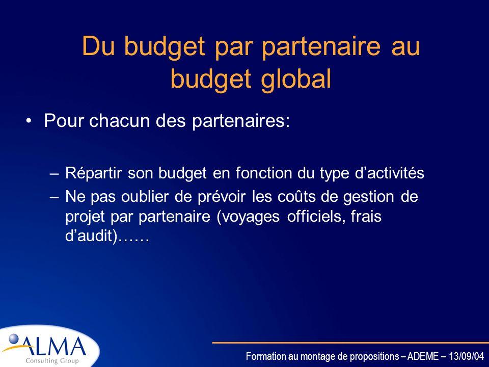 Du budget par partenaire au budget global