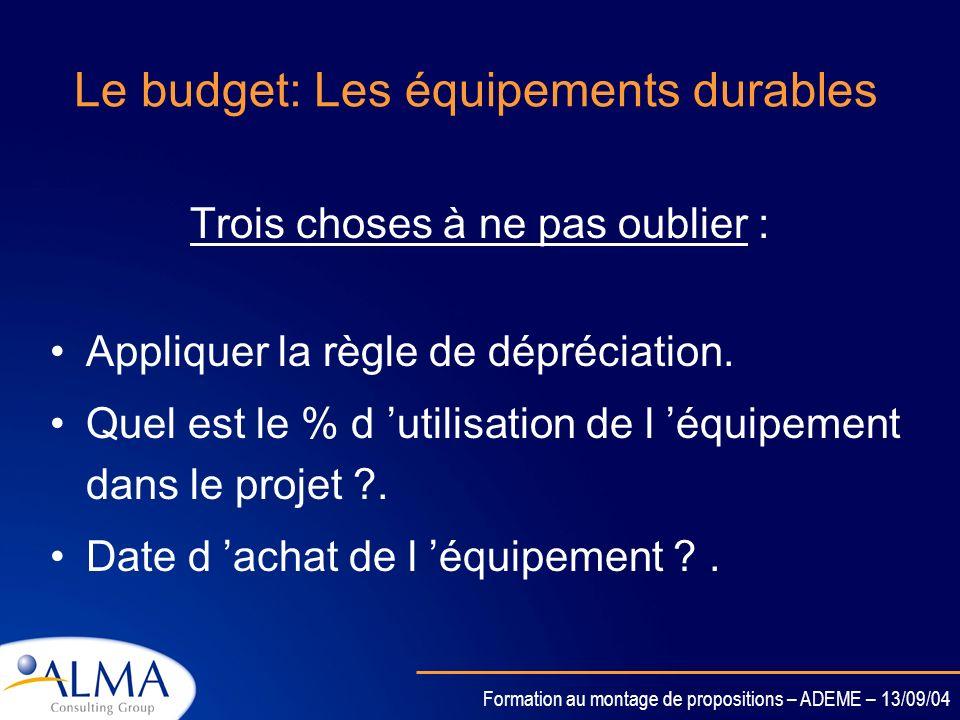 Le budget: Les équipements durables
