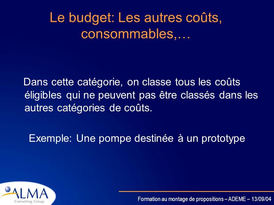 Le budget: Les autres coûts, consommables,…