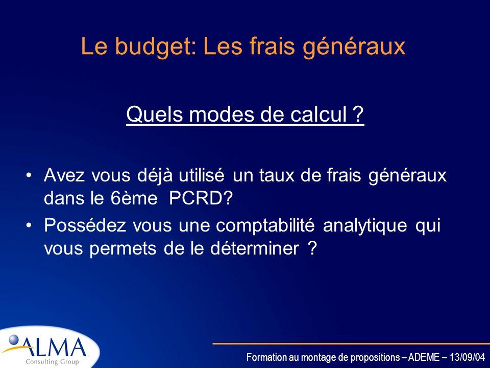 Le budget: Les frais généraux