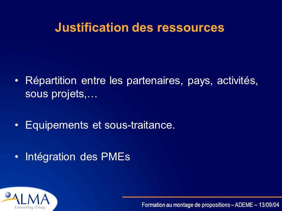 Justification des ressources