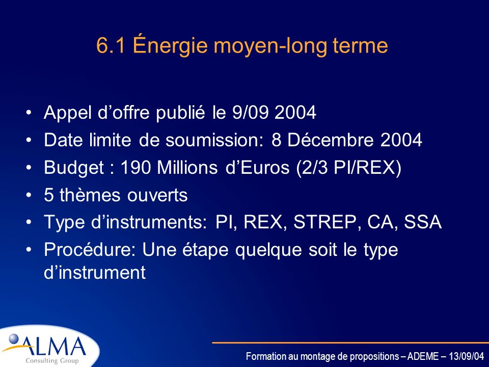 6.1 Énergie moyen-long terme