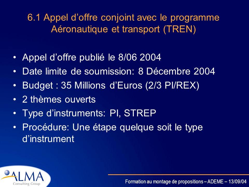 6.1 Appel d'offre conjoint avec le programme Aéronautique et transport (TREN)