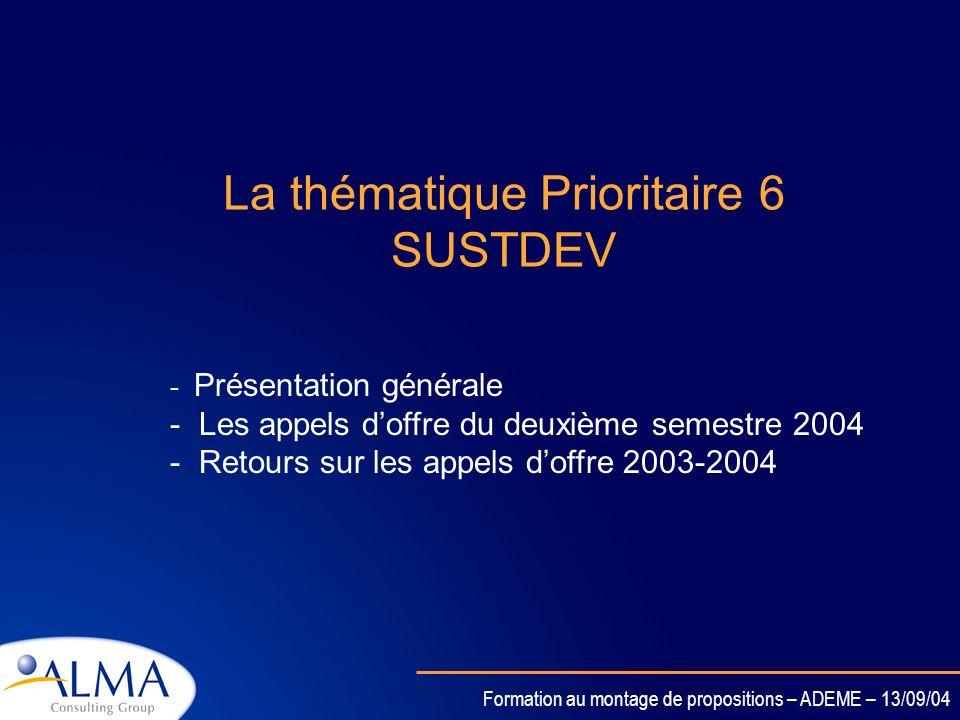 La thématique Prioritaire 6 SUSTDEV