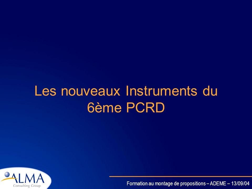 Les nouveaux Instruments du 6ème PCRD