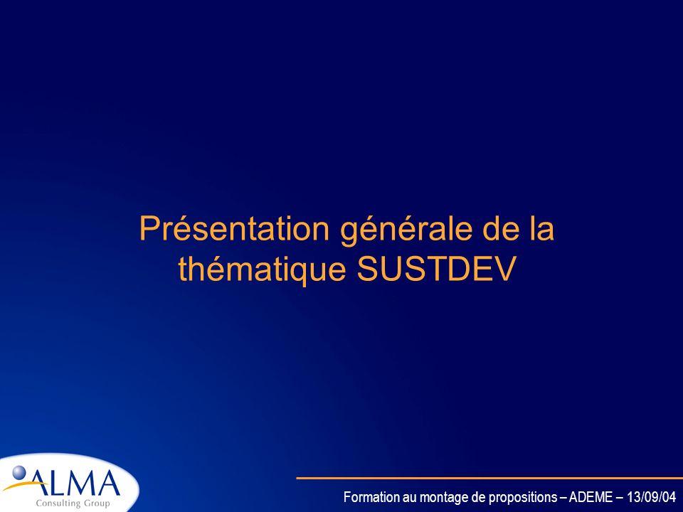 Présentation générale de la thématique SUSTDEV