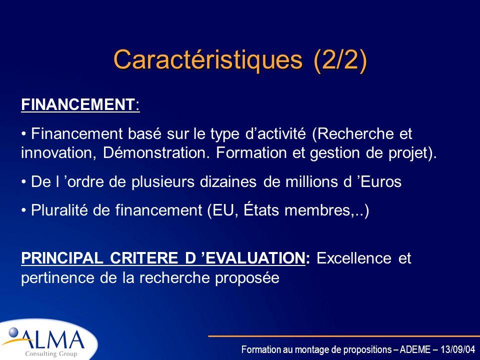 Caractéristiques (2/2) FINANCEMENT: