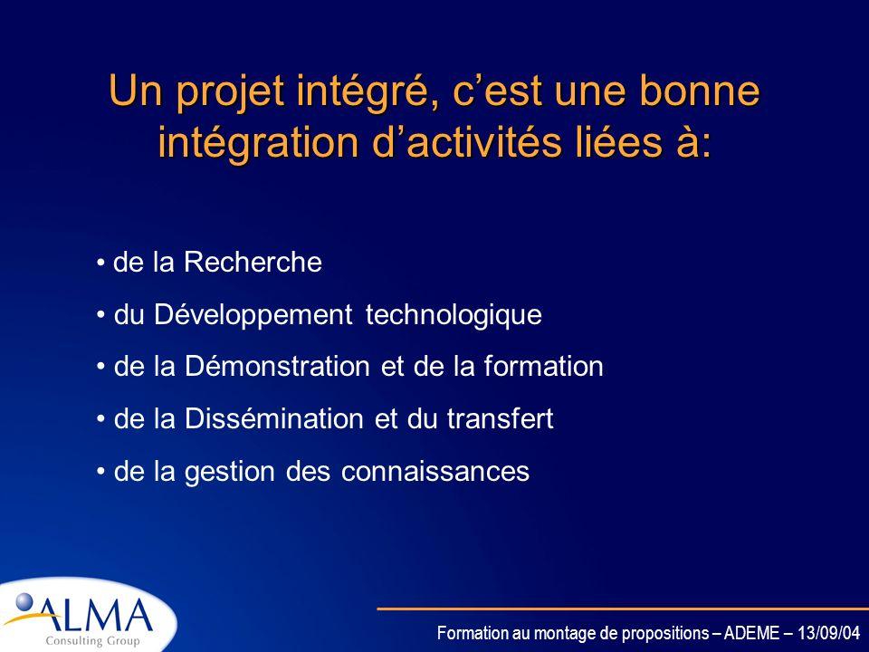 Un projet intégré, c'est une bonne intégration d'activités liées à: