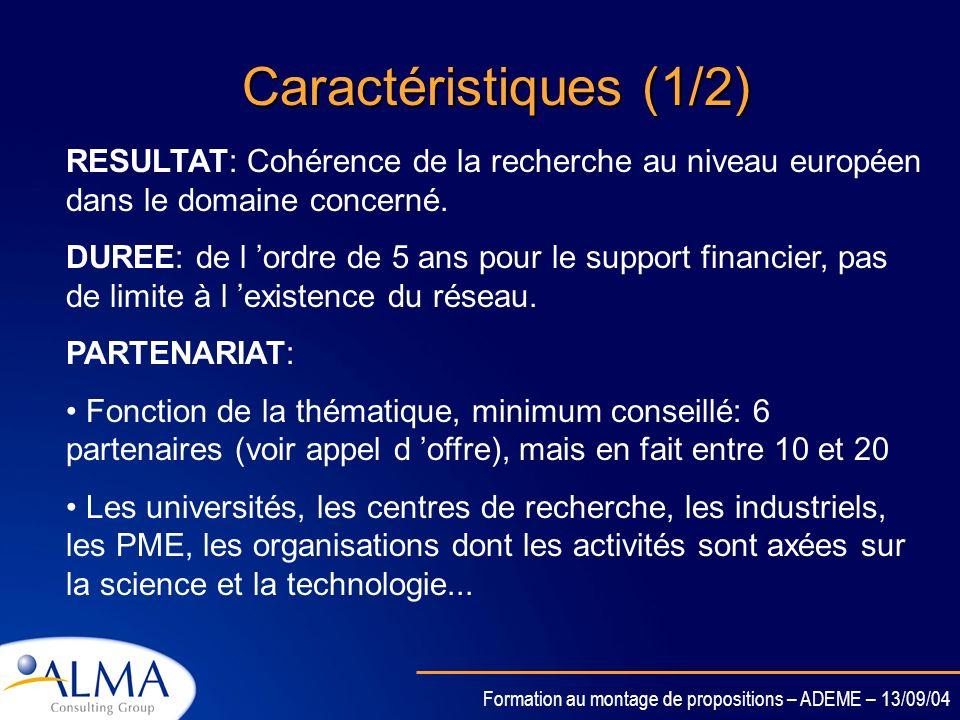 Caractéristiques (1/2)RESULTAT: Cohérence de la recherche au niveau européen dans le domaine concerné.