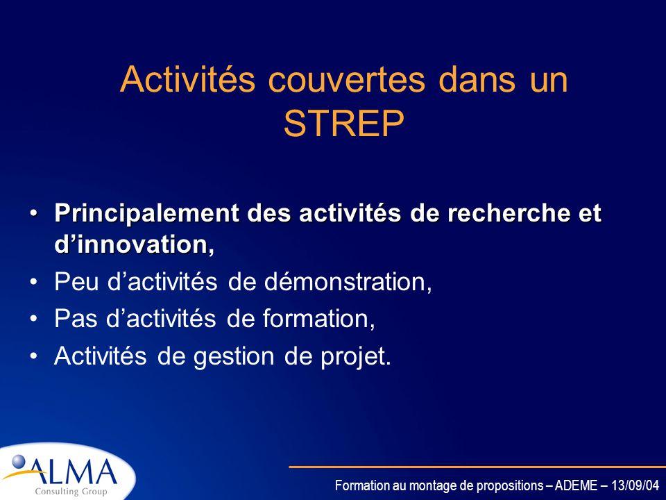 Activités couvertes dans un STREP