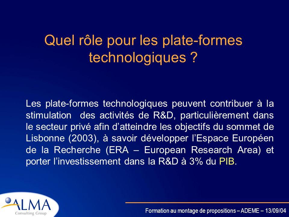Quel rôle pour les plate-formes technologiques