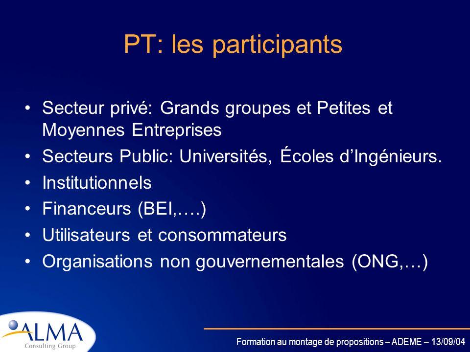 PT: les participants Secteur privé: Grands groupes et Petites et Moyennes Entreprises. Secteurs Public: Universités, Écoles d'Ingénieurs.