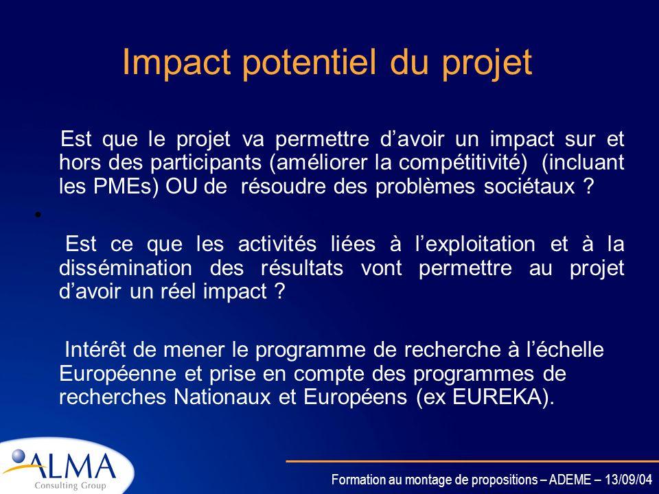 Impact potentiel du projet