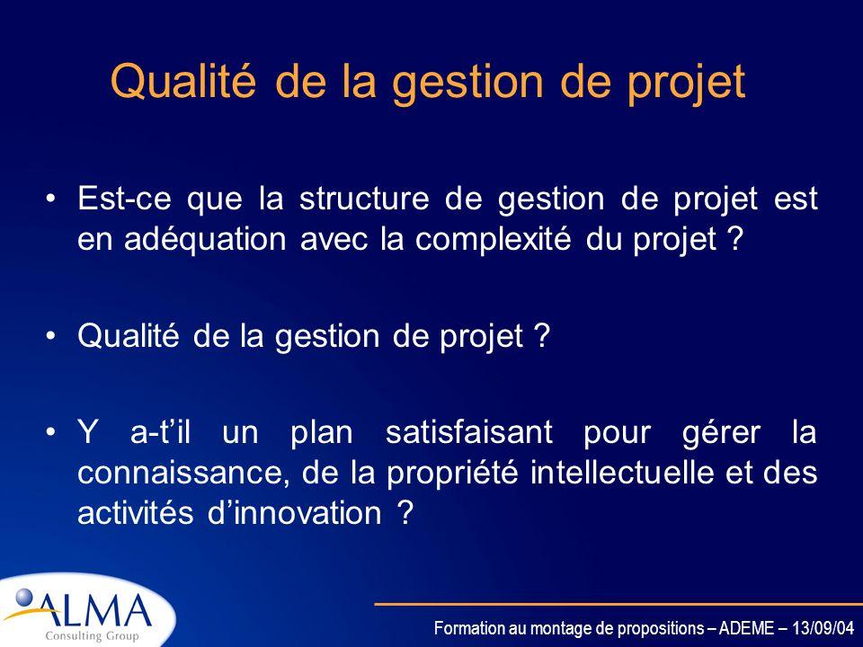 Qualité de la gestion de projet
