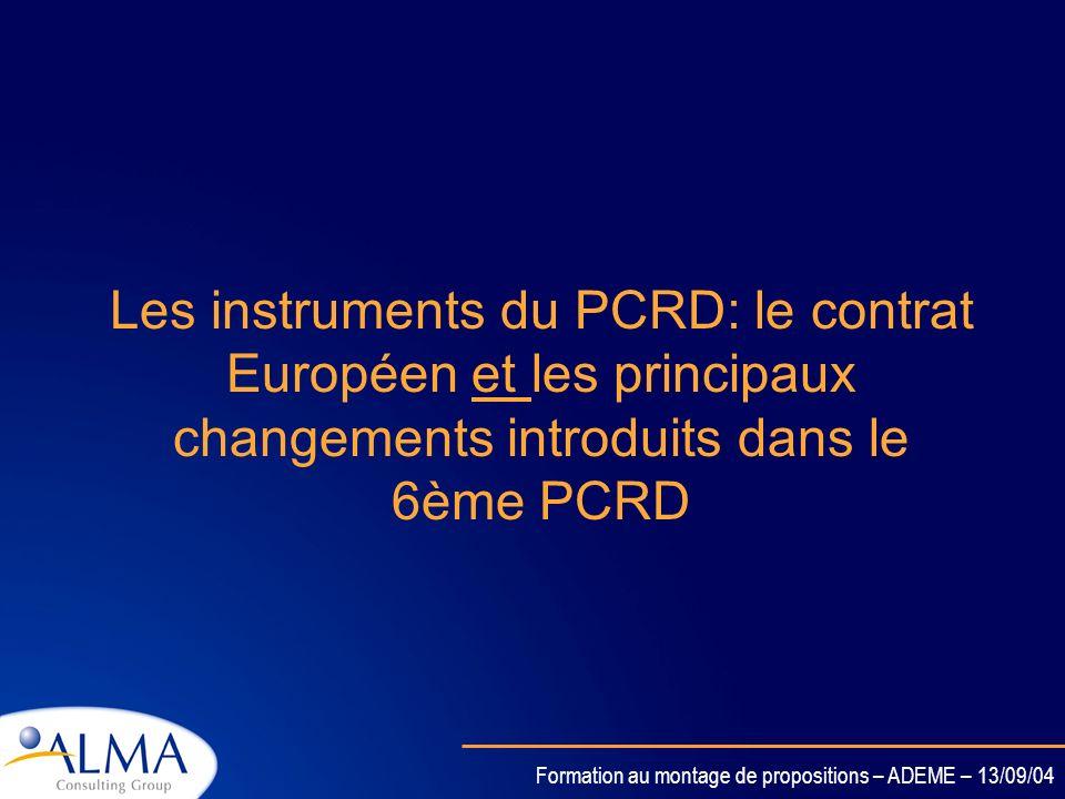 Les instruments du PCRD: le contrat Européen et les principaux changements introduits dans le 6ème PCRD