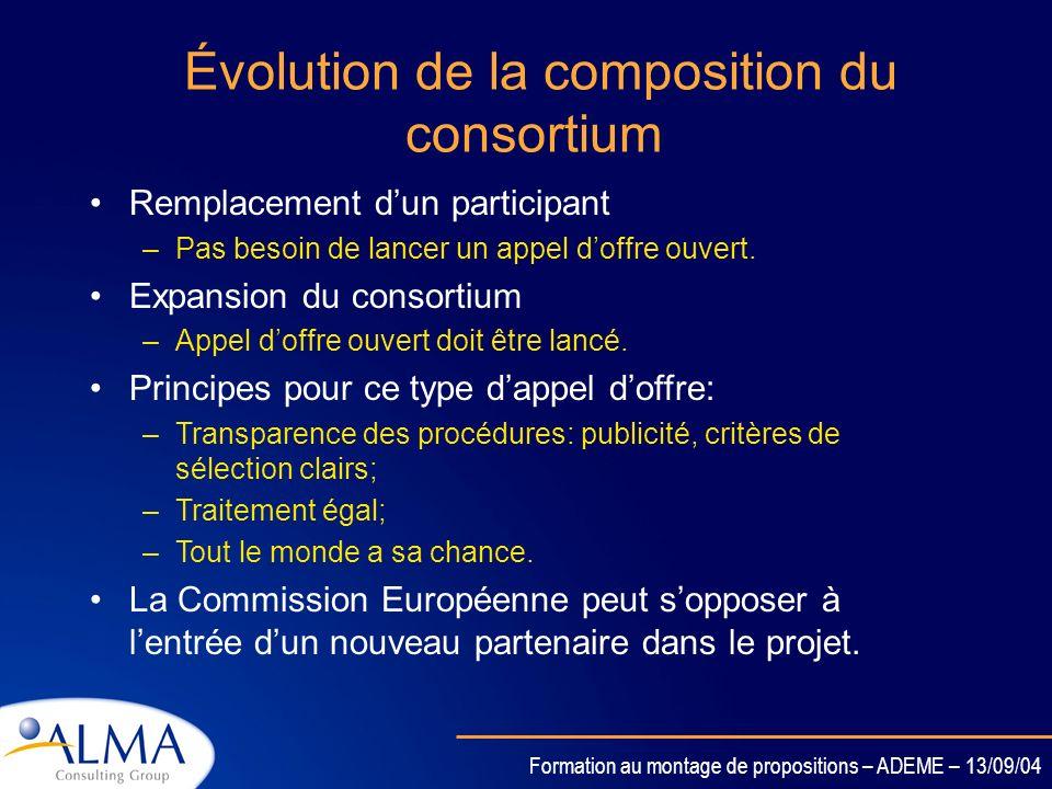 Évolution de la composition du consortium