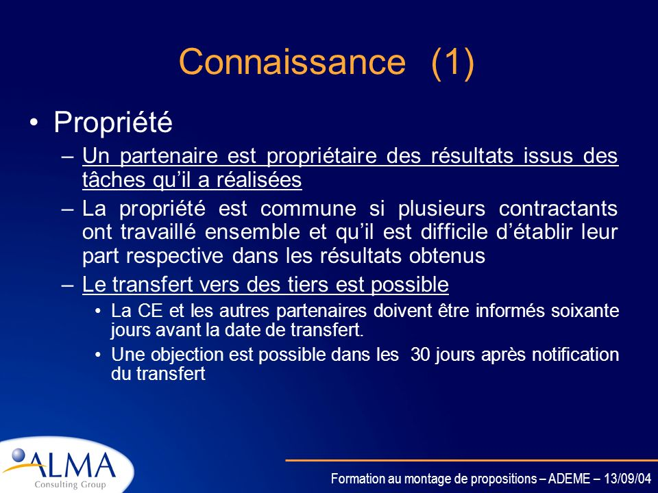 Connaissance (1) Propriété