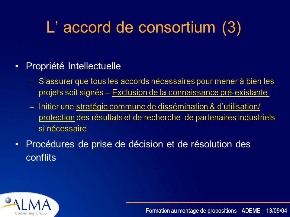 L' accord de consortium (3)