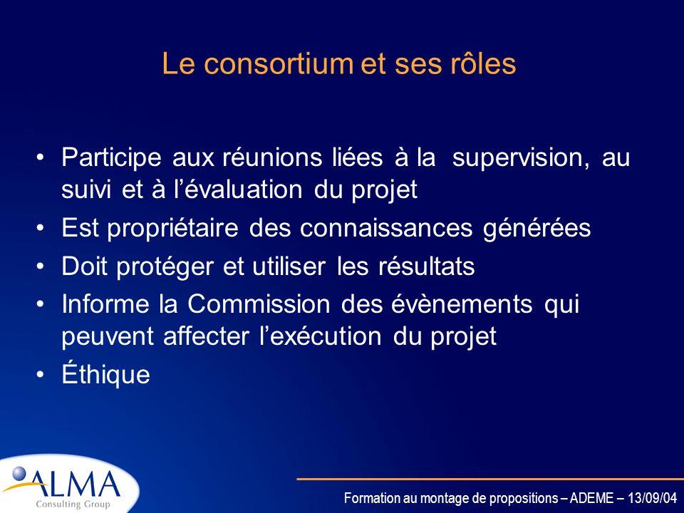 Le consortium et ses rôles