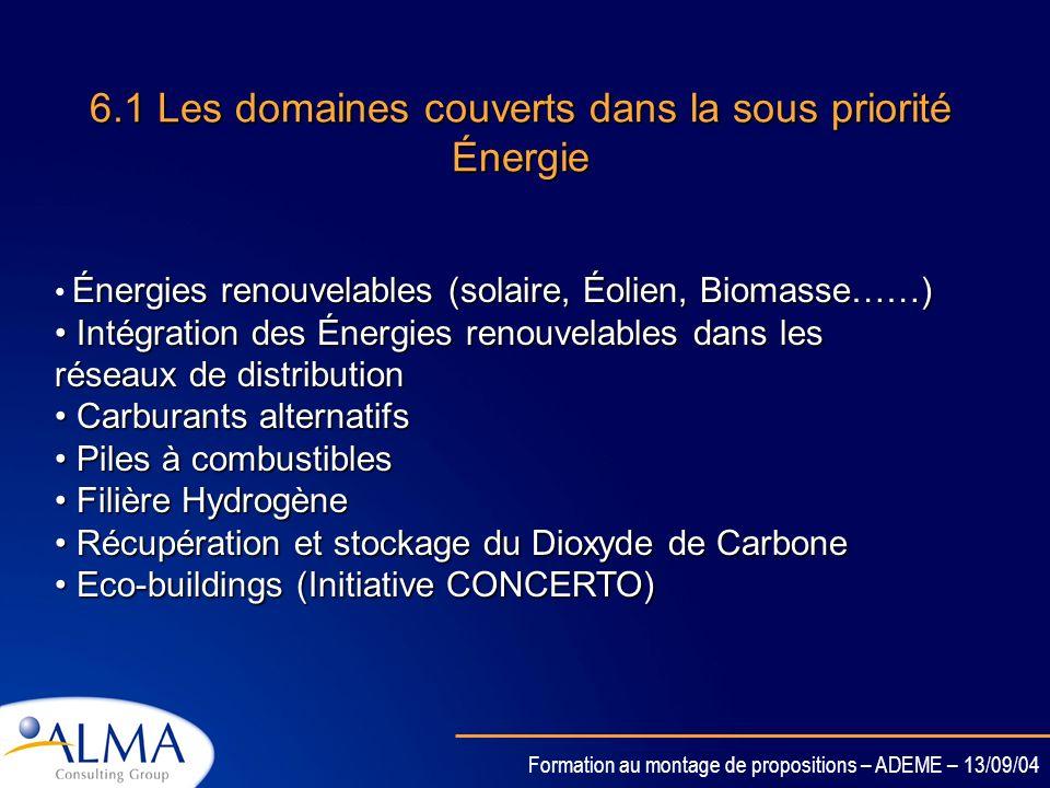 6.1 Les domaines couverts dans la sous priorité Énergie