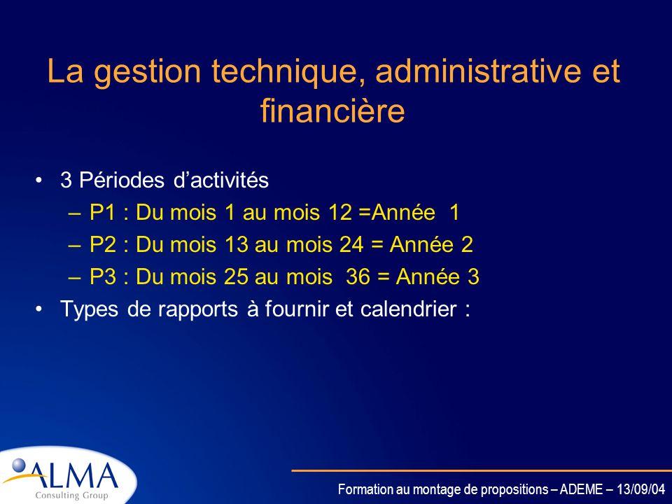 La gestion technique, administrative et financière