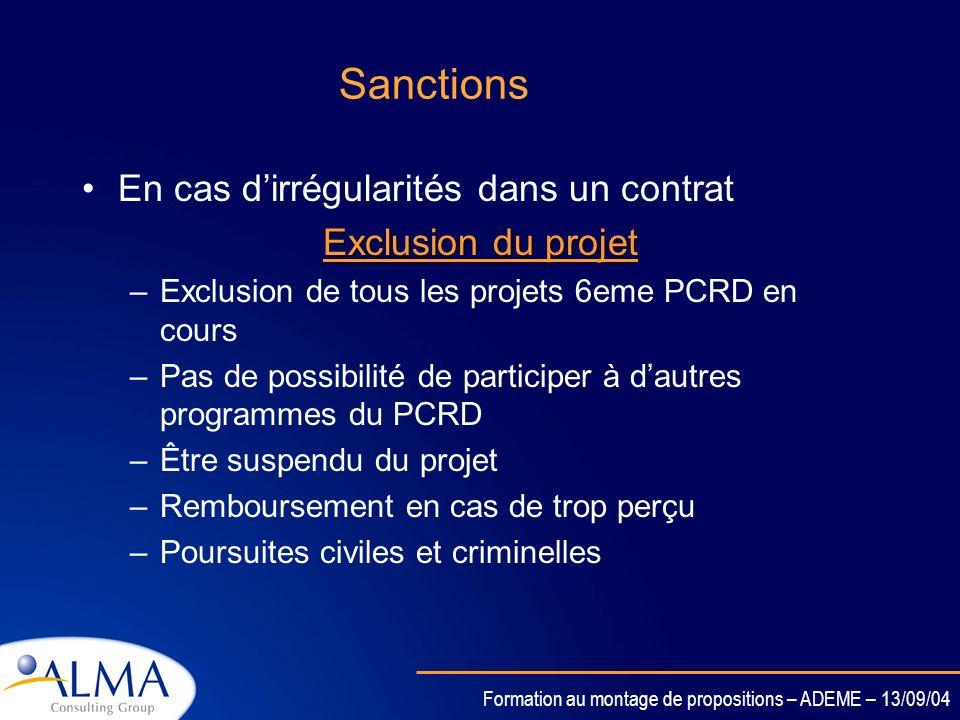 Sanctions En cas d'irrégularités dans un contrat Exclusion du projet