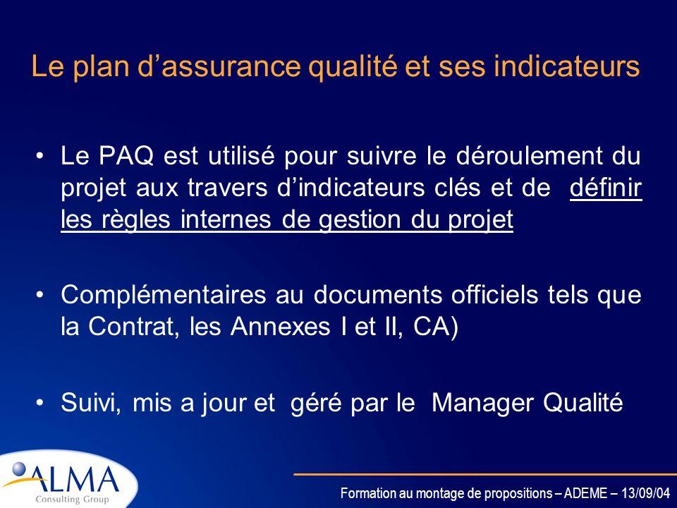 Le plan d'assurance qualité et ses indicateurs
