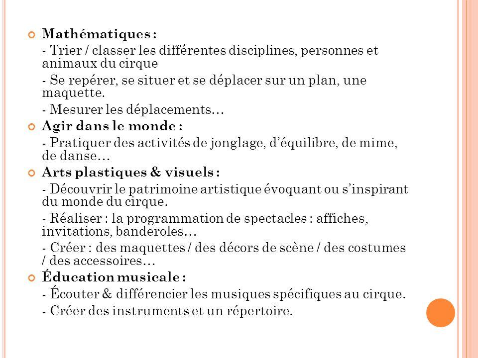 Mathématiques : - Trier / classer les différentes disciplines, personnes et animaux du cirque.