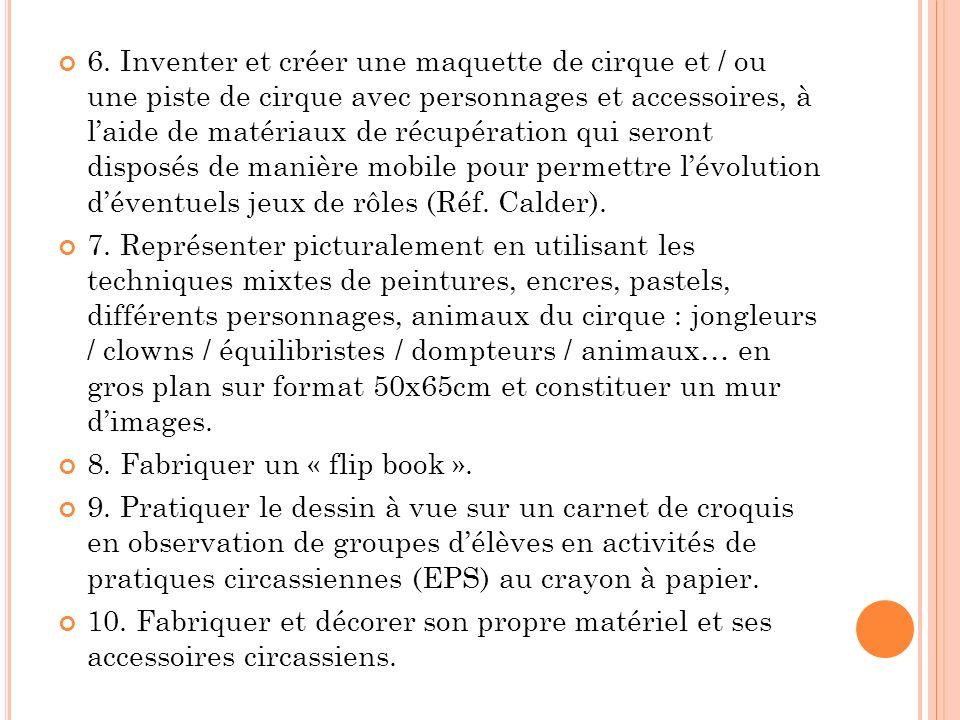 6. Inventer et créer une maquette de cirque et / ou une piste de cirque avec personnages et accessoires, à l'aide de matériaux de récupération qui seront disposés de manière mobile pour permettre l'évolution d'éventuels jeux de rôles (Réf. Calder).