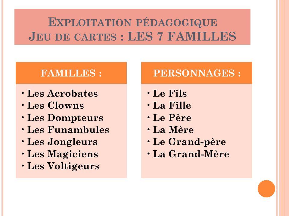 Exploitation pédagogique Jeu de cartes : LES 7 FAMILLES
