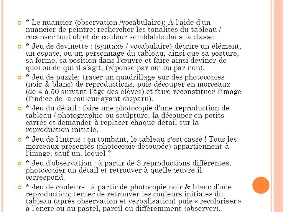 * Le nuancier (observation /vocabulaire): A l aide d un nuancier de peintre; rechercher les tonalités du tableau / recenser tout objet de couleur semblable dans la classe.