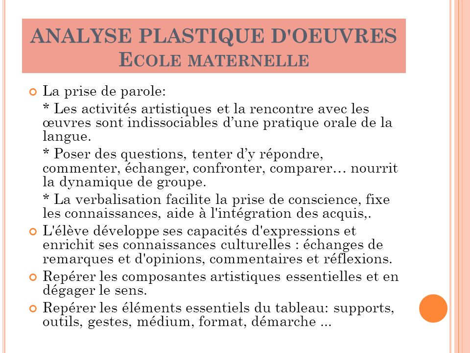 ANALYSE PLASTIQUE D OEUVRES Ecole maternelle