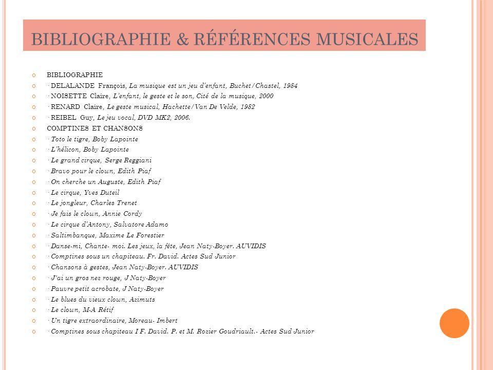 BIBLIOGRAPHIE & RÉFÉRENCES MUSICALES