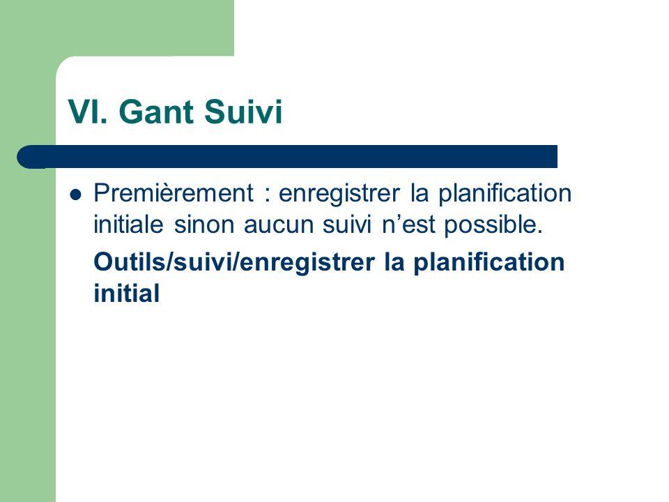 VI. Gant Suivi Premièrement : enregistrer la planification initiale sinon aucun suivi n'est possible.