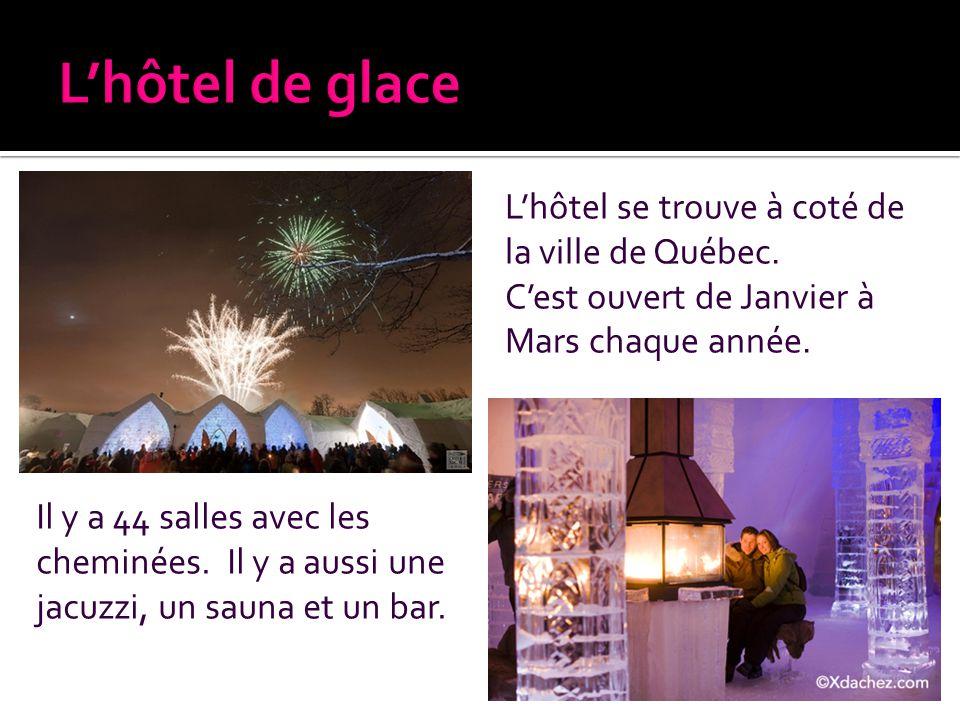 L'hôtel de glace L'hôtel se trouve à coté de la ville de Québec.