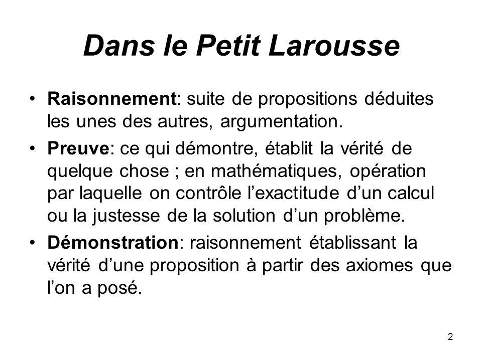 Dans le Petit Larousse Raisonnement: suite de propositions déduites les unes des autres, argumentation.