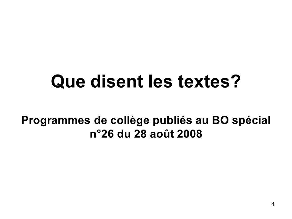 Que disent les textes Programmes de collège publiés au BO spécial n°26 du 28 août 2008