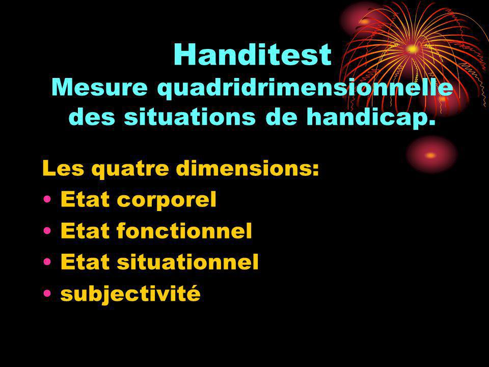 Handitest Mesure quadridrimensionnelle des situations de handicap.