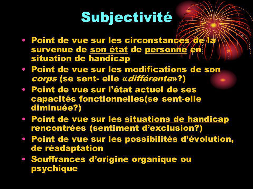 Subjectivité Point de vue sur les circonstances de la survenue de son état de personne en situation de handicap.