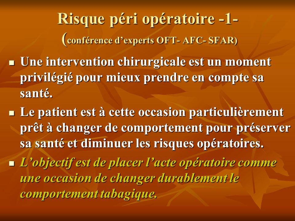 Risque péri opératoire -1- (conférence d'experts OFT- AFC- SFAR)
