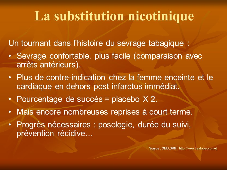 La substitution nicotinique