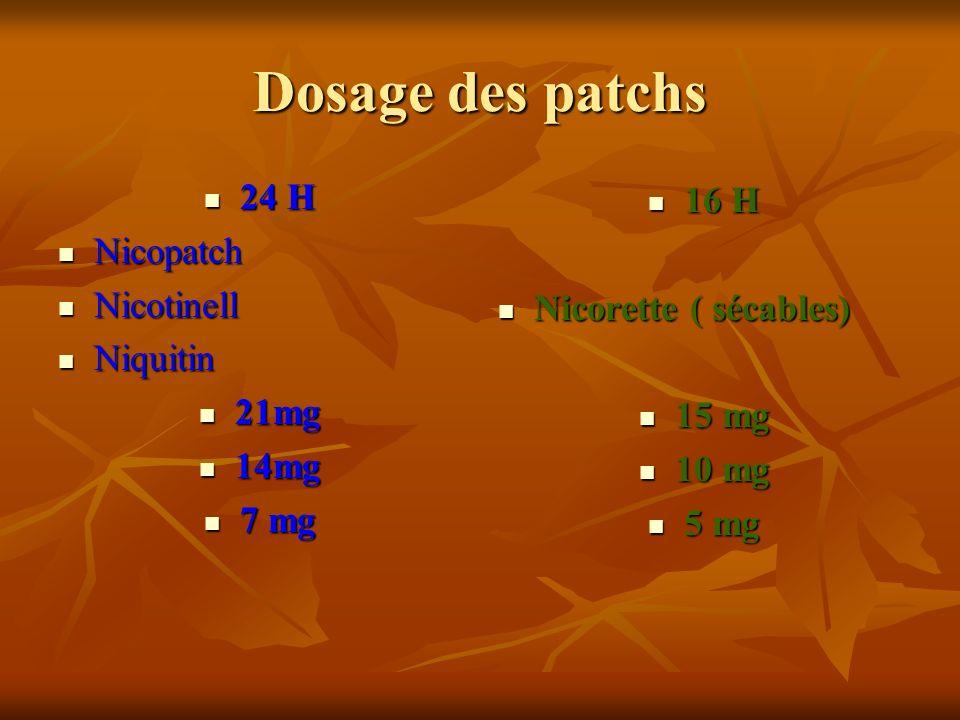 Dosage des patchs 24 H 16 H Nicopatch Nicotinell Nicorette ( sécables)