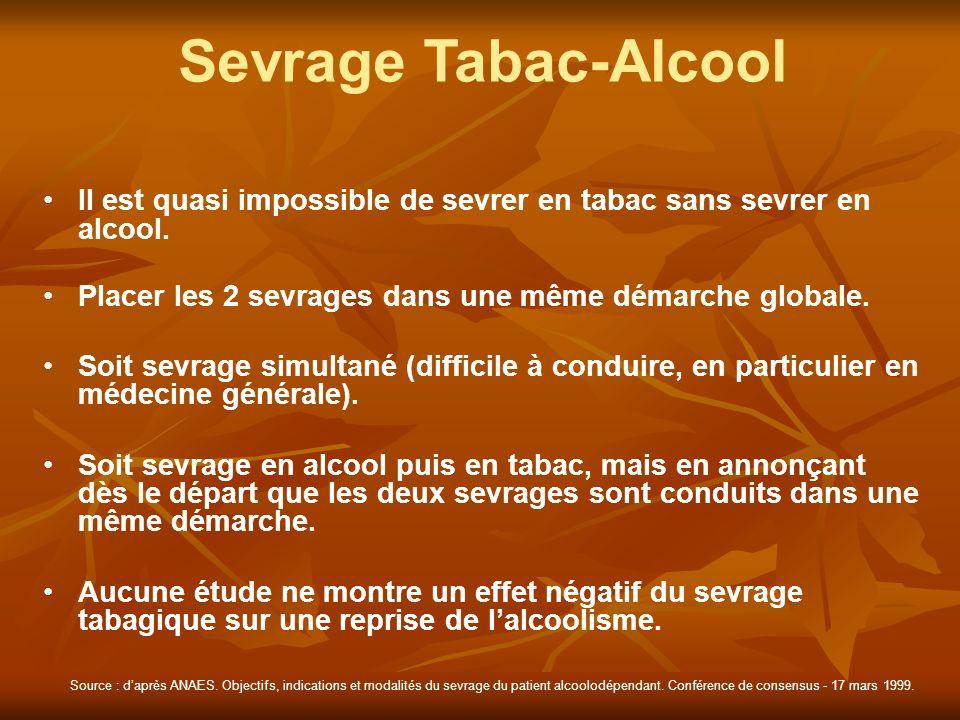 Sevrage Tabac-Alcool Il est quasi impossible de sevrer en tabac sans sevrer en alcool. Placer les 2 sevrages dans une même démarche globale.